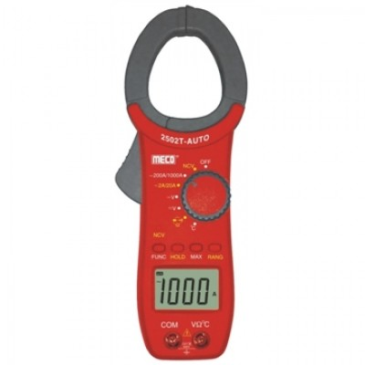 MECO Model 2502 T AUTO 3-1/2 DIGIT 2000 COUNT 1000A AC AUTO / MANUAL RANGING DIGITAL CLAMPMETER WITH TEMPERATURE