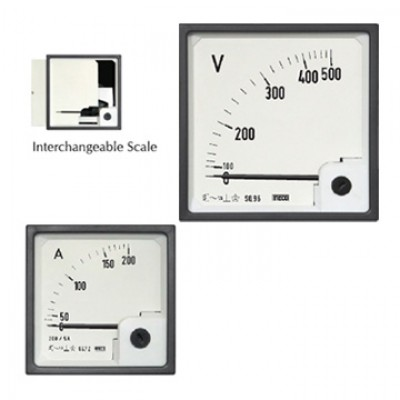 MECO AC MOVING IRON DIN PANEL AMMETER & VOLTMETERS SQ96